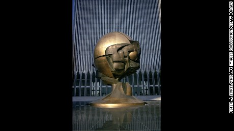 "Sculpture by Fritz Koenig entitled ""The Sphere"" in main plaza of the World Trade Center towers in 1976."