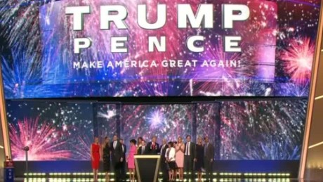 rnc convention donald trump family mike pence celebration on stage vo_00013127