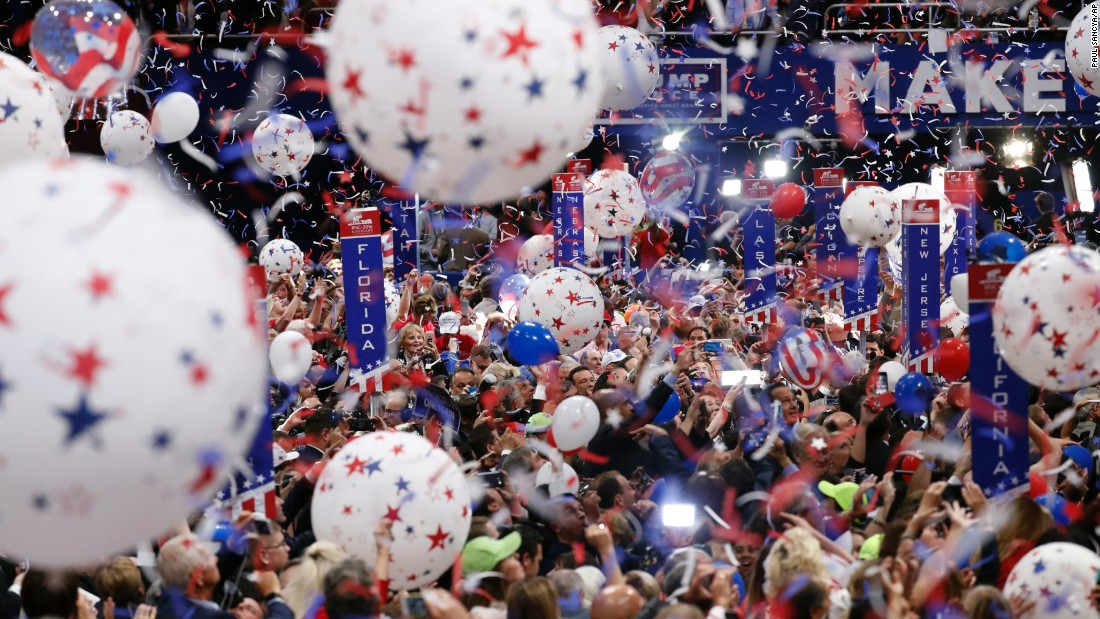 Confetti falls at the end of Trump's acceptance speech.