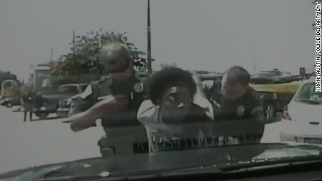 Dashcam video shoes Ms. King being arrested.