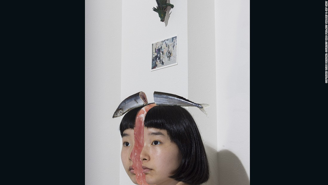 Until I Become An Object, 2015 -- Unlike most of her images, Until I Become An Object has a message behind it. Miyazaki tells CNN that she wanted to share a feeling of mortality with others in a comical way. The image captures a surreal death -- as though Miyazaki has been cut in half like a fish.