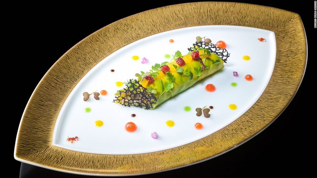 So what does it take to snag three stars? Dishes like this -- king crab and avocado cannelloni with citrus and vanilla.