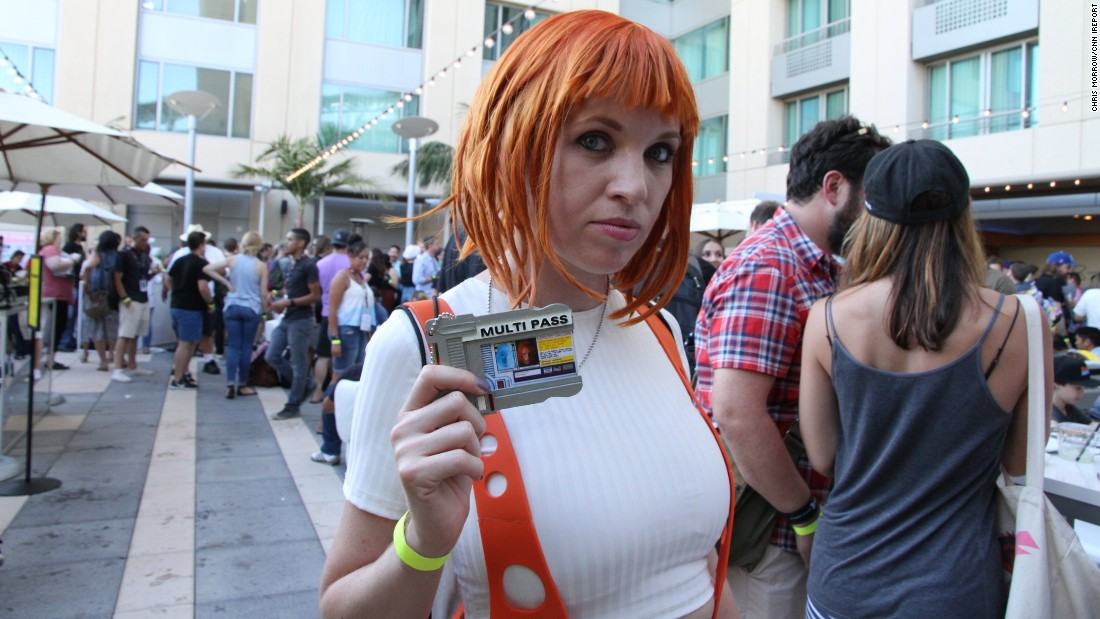 """iReporter Chris Morrow attended  Comic-Con and snapped photos of the unique outfits conventiongoers wore. Haley Smith, 30, dressed as her favorite sci-fi movie character, Leeloo  from the """"Fifth Element."""""""