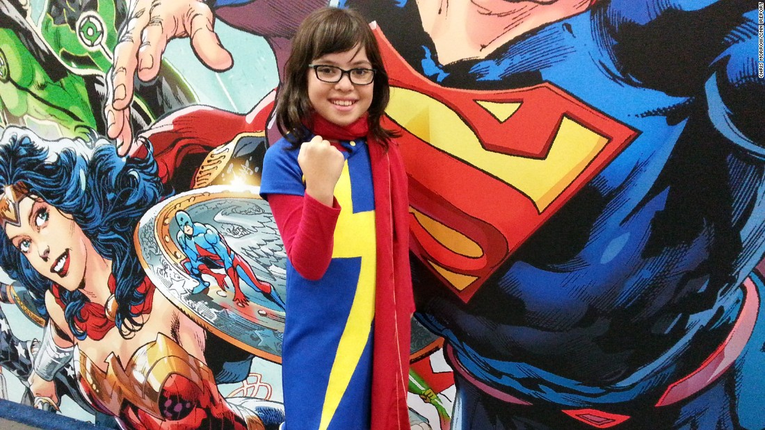 """Comic-Con, an annual convention for comics fans around the world, is taking place this week in San Diego. """"It's really fun to be a character,"""" Marley, 10, said of transforming into Ms. Marvel, the protagonist of her favorite comic books."""