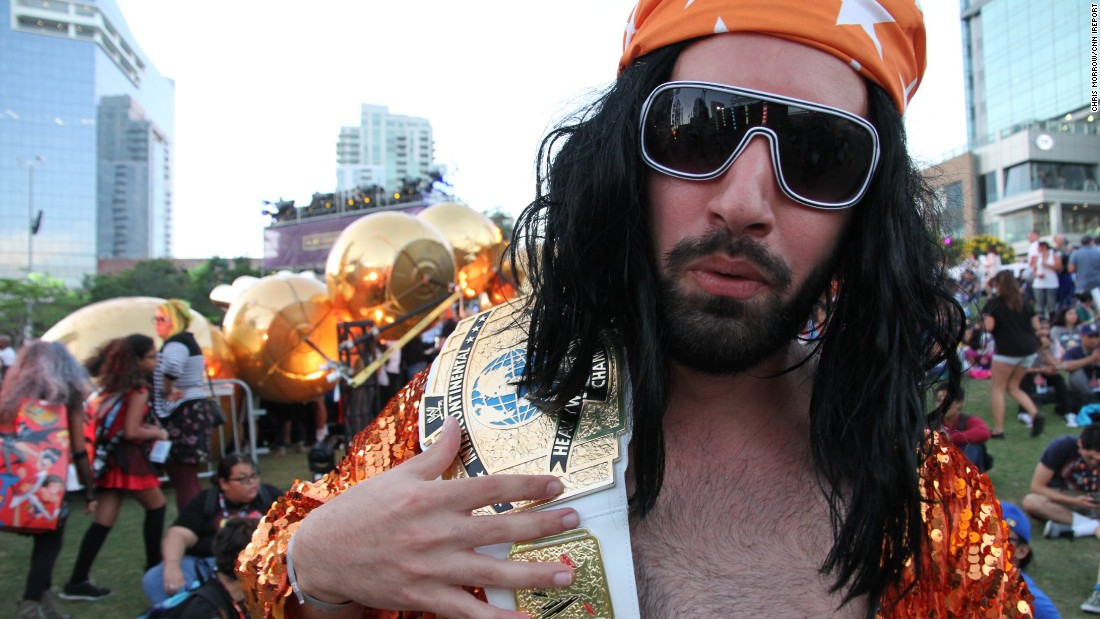 """I get to yell at people and people are OK about that. I get to eat Slim Jims all day and people hand me Slim Jims. I'm pretty pumped,"" Pharbo Esnaashari, 25, said of his Macho Man Randy Savage costume."