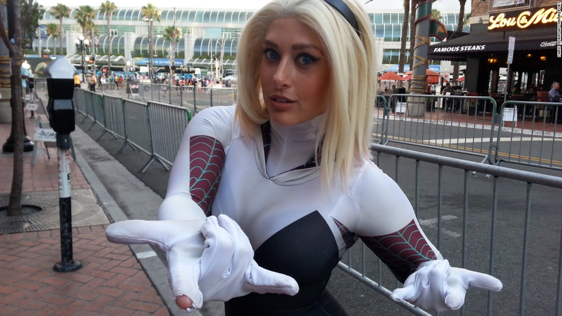 """""""Spider Gwen is funny, sarcastic, a strong role model and accessible to adults,"""" Kaylynu Wolfe, 25, said of her Comic-Con character."""