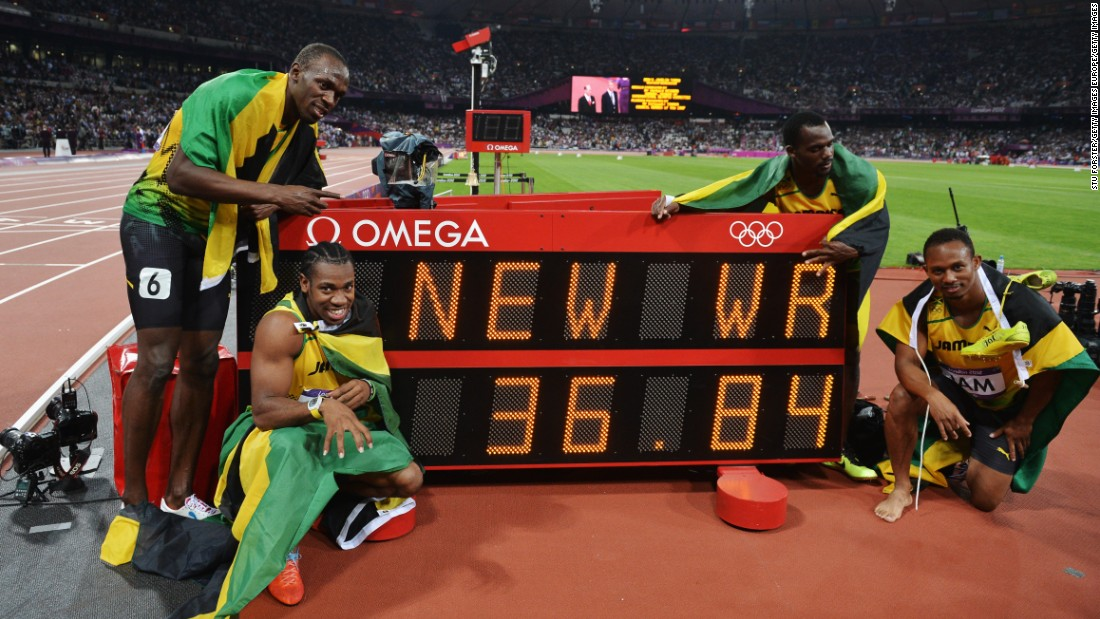 "Bolt's historic ""double-triple"" sweep of gold medals was complete after winning the 4x100m relay with teammates Blake, Carter and Frater, recording the current world record of 36.84s in the process."