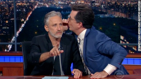 video jon stewart colbert late show