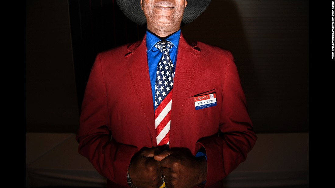 A delegate from Georgia wears an American flag-themed tie during the Republican National Convention on Thursday, July 21.