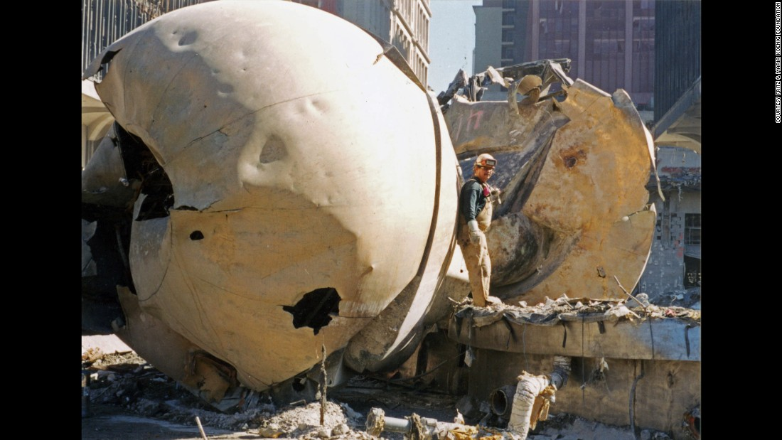 "The ""Sphere"" was severely damaged in the September 11, 2001, terror attacks."