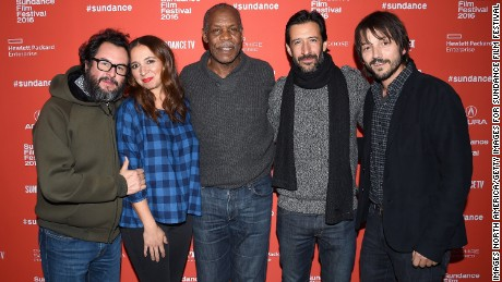 "PARK CITY, UT - JANUARY 26: (L-R) Pablo Cruz, Maya Rudolph, Danny Glover, Jose Maria Yazpik, and Diego Luna attend the ""Mr. Pig"" Premiere during the 2016 Sundance Film Festival at Eccles Center Theatre on January 26, 2016 in Park City, Utah.  (Photo by Nicholas Hunt/Getty Images for Sundance Film Festival)"