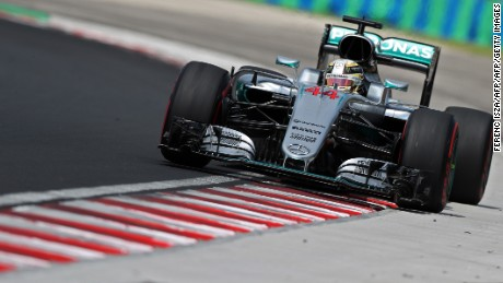 Lewis Hamilton races during the free practice session at the Hungarian Grand Prix.
