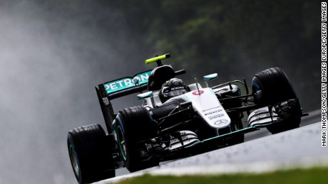 Nico Rosberg on track during qualifying for the Hungarian Grand Prix.