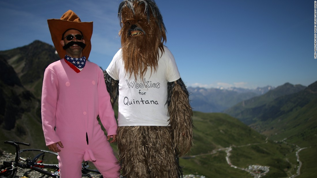Fans of Nairo Quintana wait at the top of the Col du Tourmalet during stage eight.