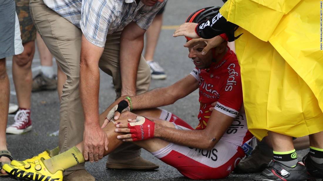 There was more drama on stage 19 as Spain's between Albertville and Saint-Gervais Mont Blanc. Here, Daniel Navarro of Spain recovers from a nasty fall.