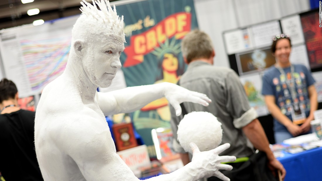 Todd Schmidt, of San Diego, dressed as the Iceman.