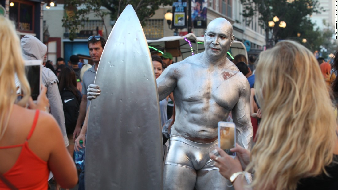John Pina painted himself as the Silver Surfer.