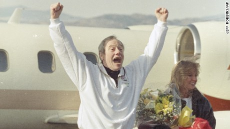 Thomas Sutherland exults on Dec. 1, 1991, upon his return to Fort Collins, Colorado.