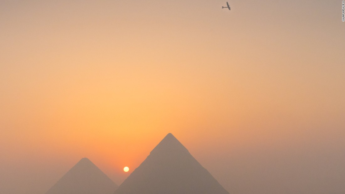 Solar Impulse 2, seen above the Pyramids of Giza on its approach to Cairo, Egypt.