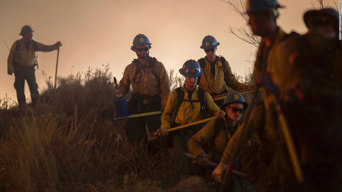 Firefighters of the Texas Canyon Hotshots fight the Sand Fire.