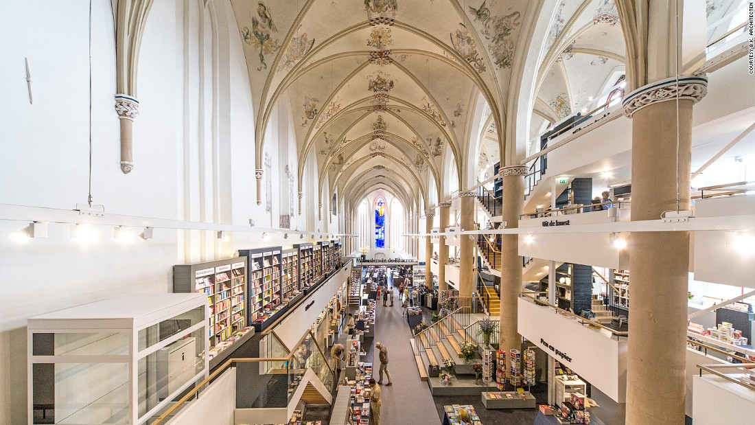 "If libraries are cathedrals of learning, then it's not a huge stretch to place a bookshop in a church. <a href=""http://waandersindebroeren.nl/"" target=""_blank"">Waanders In de Broeren</a> in Zwolle sits within a converted 15th century Dominican church. The refit builds in three floors but pays respect to the original vaulted ceiling, while architects <a href=""http://www.bkpunt.nl/#0"" target=""_blank"">BK. Architecten</a> transformed the building's transepts into reading rooms, complete with stained glass windows."
