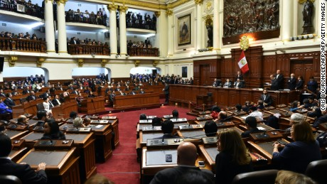 General view of a special session of the Peruvian congress presided by Kengi Fujimkori, the most voted in the general elections of July 2016, in Lima July 22, 2016.  Kengi is the son of imprisoned former President Alberto Fujimori (1990-2001), and brother of Fuerza Popular Party (Popular Strenth) leader Keiko Fujimori. The conservative Fuerza Popular won an absolute majority in the countrys unicameral Congress with 36.3% of the votes; 71 out of 130 seats, although party leader Keiko was defeated by a small margin, gaining 49.88% in the runoff against President-elect Pedro Pablo Kuczynski, who will be sworn into office on July 28. / AFP / CRIS BOURONCLE        (Photo credit should read CRIS BOURONCLE/AFP/Getty Images)