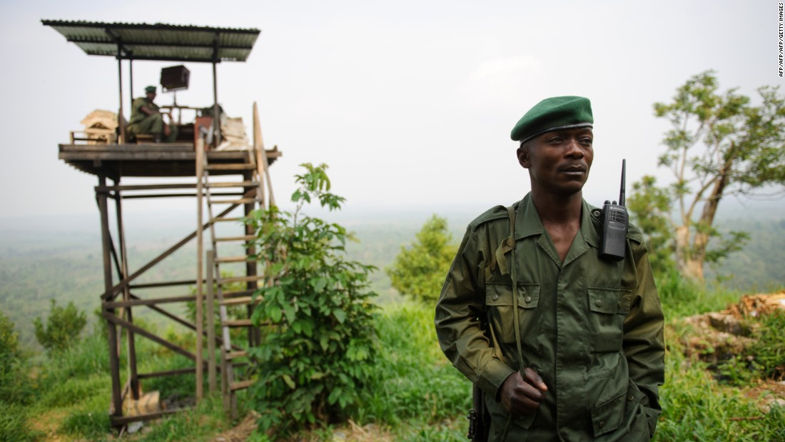 A Virunga National Park ranger from the Congolese Wildlife Authority (Institut Congolais pour la Conservation de la Nature, ICCN) stands at an observation post at Rumangabo at the edge of the Virunga Park. The rangers are responsible for patrolling the national park and protecting the wildlife, which frequently brings them into contact with heavily armed militant groups. Hundreds of rangers have been killed on duty.