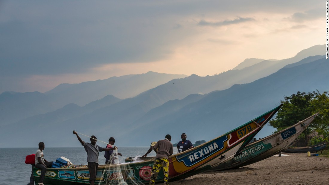 The fishing village of Kavanyongi is part of Virunga National Park. The park has suffered as a result of armed conflict and poachers but is re-establishing itself through international donations.