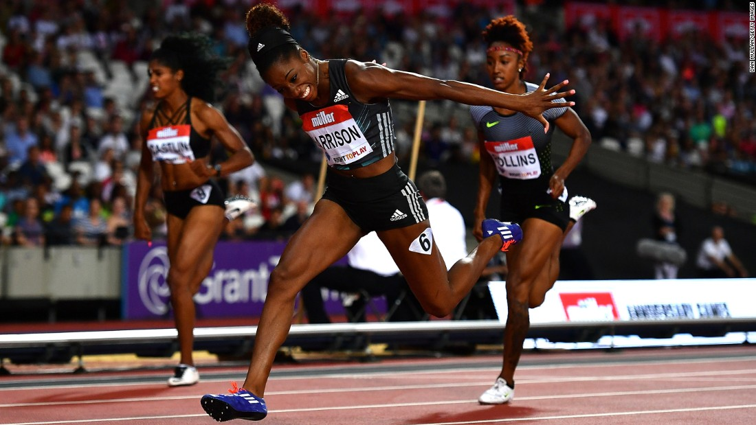 American hurdler Kendra Harrison dips her head as she wins a race Friday, July 22, at the Muller Anniversary Games in London. Harrison broke a world record in the process. She finished the 100-meter hurdles in 12.20 seconds, breaking a mark set in 1988 by Bulgaria's Yordanka Donkova.