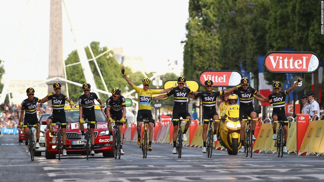 "Chris Froome wears the yellow jersey as he and the rest of Team Sky celebrate <a href=""http://www.cnn.com/2016/07/24/sport/tour-de-france-2016/index.html"" target=""_blank"">his Tour de France victory</a> on Sunday, July 24. It was the third career victory for Froome, a British rider who also won the Tour in 2013 and 2015."