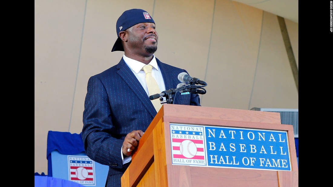 Ken Griffey Jr. wears his iconic backwards hat as he is inducted into the Baseball Hall of Fame on Sunday, July 24. Mike Piazza was also part of the Class of 2016.