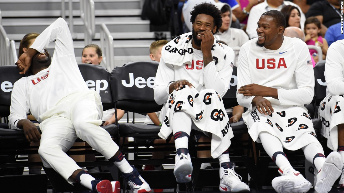 From left, Draymond Green, DeAndre Jordan and Kevin Durant laugh on the bench during the United States' 111-74 victory over Argentina on Friday, July 22. The game in Las Vegas was a tuneup for the upcoming Olympics.