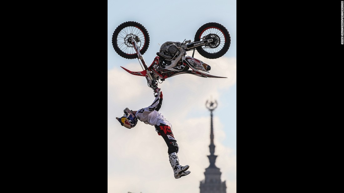 An athlete goes airborne during the Moscow City Games on Saturday, July 23.