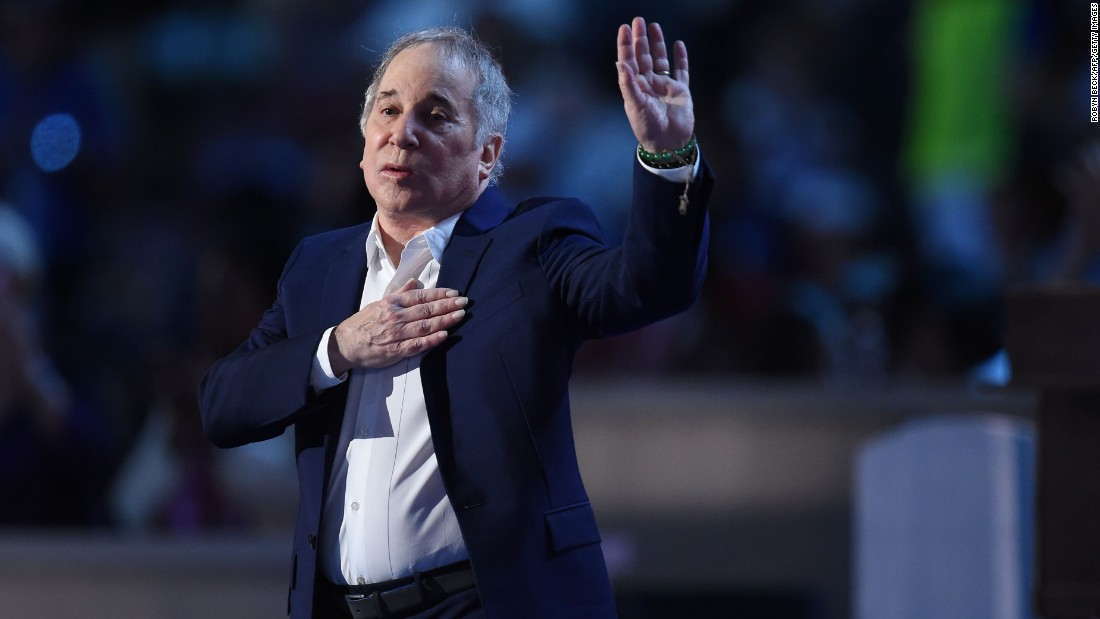 "Singer Paul Simon performs ""Bridge Over Troubled Water."""