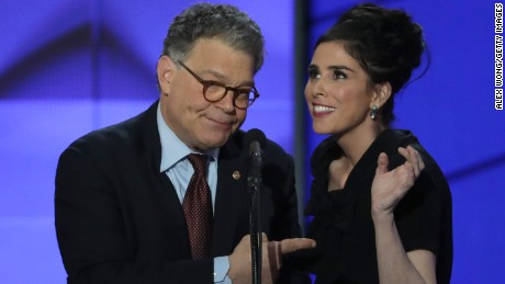 Comedian/actress Sarah Silverman speaks as Sen. Al Franken (D-MN) looks on during the first day of the Democratic National Convention at the Wells Fargo Center, July 25, 2016 in Philadelphia, Pennsylvania.