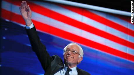 Former Democratic Presidential candidate, Sen. Bernie Sanders, I-Vt., takes the stage during the first day of the Democratic National Convention in Philadelphia , Monday, July 25.