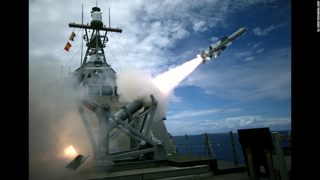 The USS Coronado, a littoral combat ship, launches a missile Tuesday, July 19, as part of a training exercise in and around the Hawaiian Islands. There are 26 nations taking part in RIMPAC, or the Rim of the Pacific Exercise. It began in June and will end in early August.