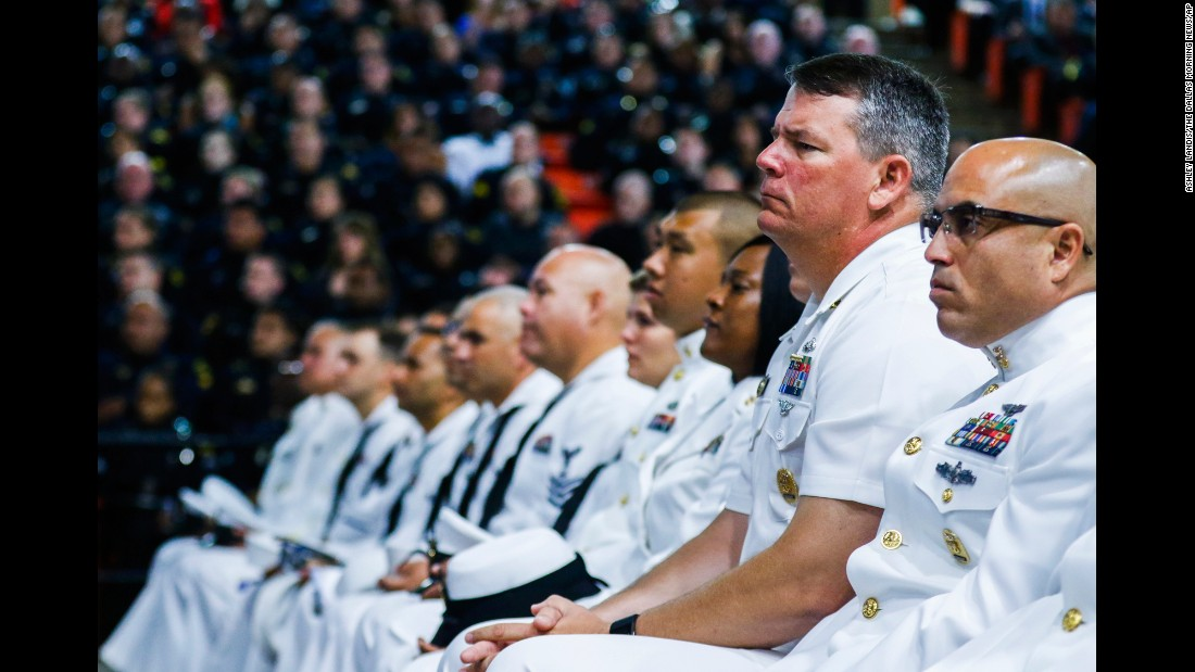 "U.S. sailors attend a funeral service in Fort Worth, Texas, for Dallas police officer Patrick Zamarripa on Saturday, July 16. Zamarripa was one of the five Dallas police officers <a href=""http://www.cnn.com/2016/07/20/us/dallas-shooter-micah-johnson-movements/"" target=""_blank"">killed by a gunman</a> earlier this month."