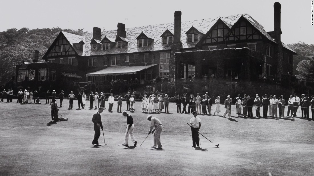 Players practice putting in front of the clubhouse in 1936. Originally a converted barnhouse -- the course was built on a farm -- it burned down in 1909 and was rebuilt in a Tudor revival style.