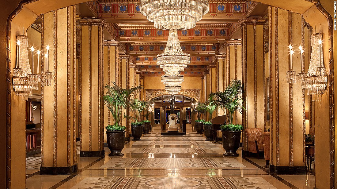 First opened in 1893, Waldorf Astoria's Roosevelt remains the most beautiful hotel in New Orleans -- with its tiered crystal chandeliers, gold-gilded pillars and original floor mosaics.