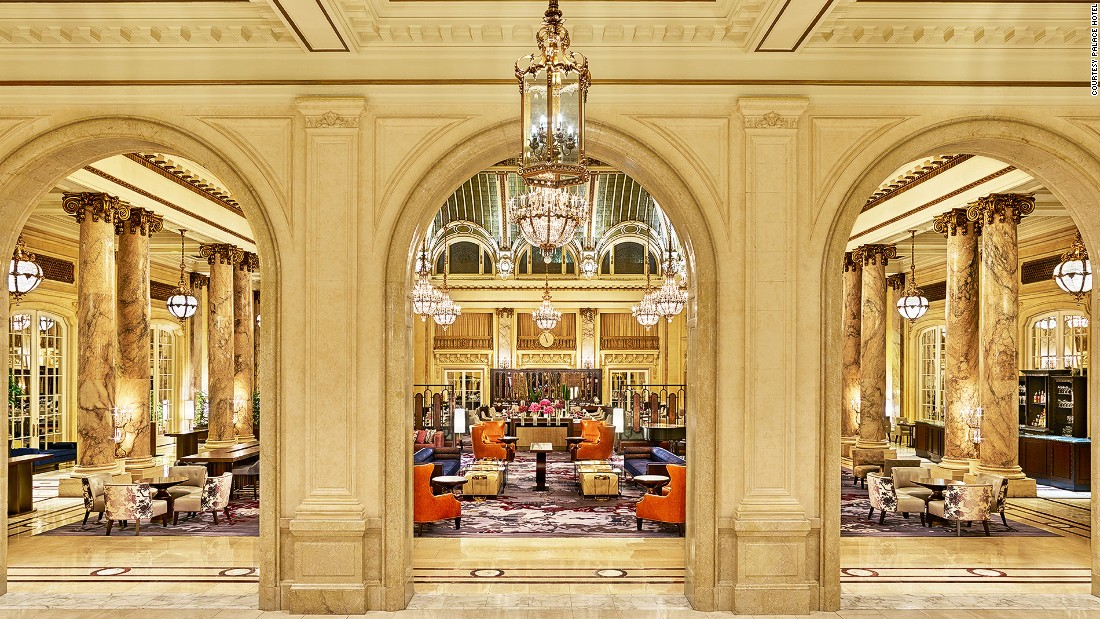 After a recent renovation, San Francisco's iconic Palace Hotel is even more palatial. The common spaces are now furnished with golden atrium ceilings, vintage crystal chandeliers and rich carpets.