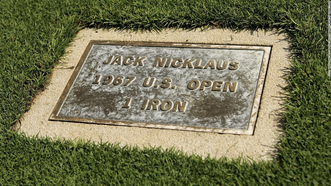 A plaque on the 18th fairway commemorates the famous 1-iron that Jack Nicklaus hit to secure his win in the 1967 U.S. Open.