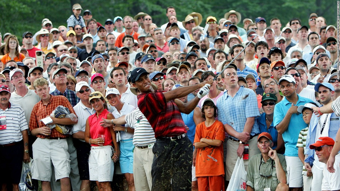Daly, the 1991 PGA winner, is also in the field at Baltusrol but Tiger Woods -- who tied for fourth in 2005 (pictured) and has won the tournament four times -- is still sidelined with long-term back problems.