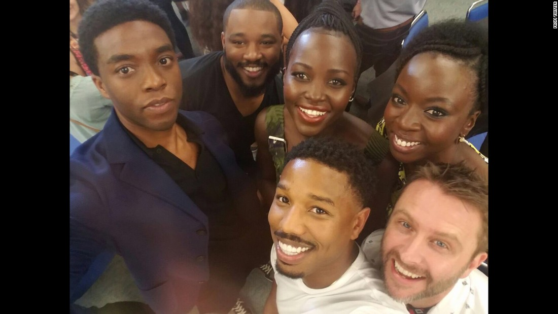 "Some cast members of the upcoming ""Black Panther"" movie <a href=""https://twitter.com/Lupita_Nyongo/status/757022532251717632"" target=""_blank"">take a selfie</a> at San Diego Comic-Con on Saturday, July 23. From left are actor Chadwick Boseman, director Ryan Coogler, actress Lupita Nyong'o, actor Michael B. Jordan, actress Danai Gurira and panel moderator Chris Hardwick."