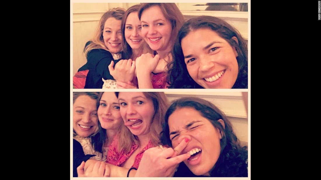 "Stars of ""The Sisterhood of the Traveling Pants"" -- from left, Blake Lively, Alexis Bledel, Amber Tamblyn and America Ferrera -- <a href=""https://www.instagram.com/p/BHnBubSgxN2/"" target=""_blank"">reunite for a selfie</a> on Friday, July 8. ""All grown up,"" Ferrera said on Instagram. <a href=""http://www.cnn.com/2016/06/29/entertainment/gallery/look-at-me-selfies-june/index.html"" target=""_blank"">Must-see selfies from June</a>"