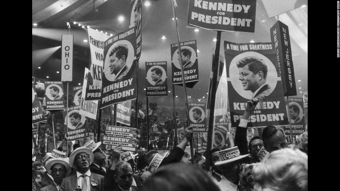 "Kennedy supporters hold signs reading, ""A time for greatness: Kennedy for President."" Most of the convention was held at the newly opened Los Angeles Memorial Sports Arena, which later became the home of the Los Angeles Lakers and Clippers."