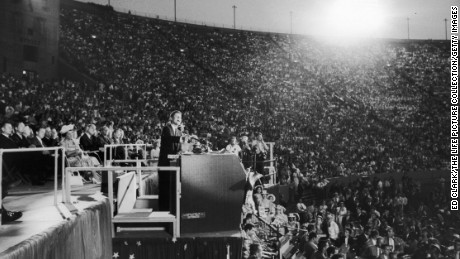 Sen. John F. Kennedy speaking at the 1960 Democratic National Convention.