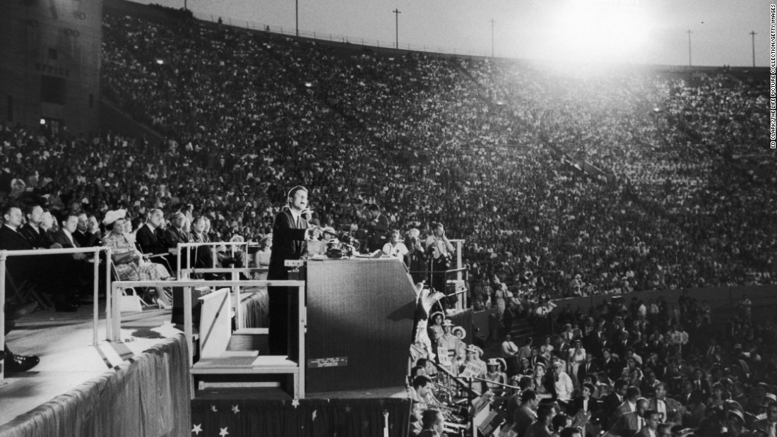 "To accommodate a larger crowd, Kennedy's acceptance speech was moved from the Sports Arena to the adjacent Los Angeles Memorial Coliseum. His speech, which became known as ""The New Frontier,"" challenged Americans to a choice ""between the public interest and private comfort, between national greatness and national decline, between the fresh air of progress and the stale, dank atmosphere of 'normalcy.' """