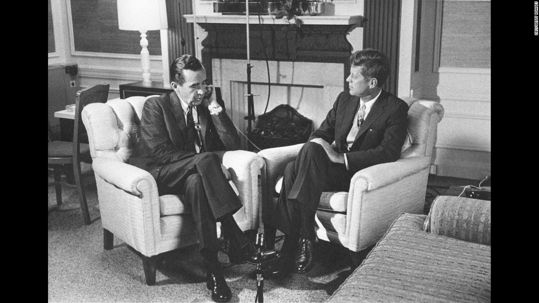 Legendary CBS newsman Edward R. Murrow interviews John F. Kennedy.