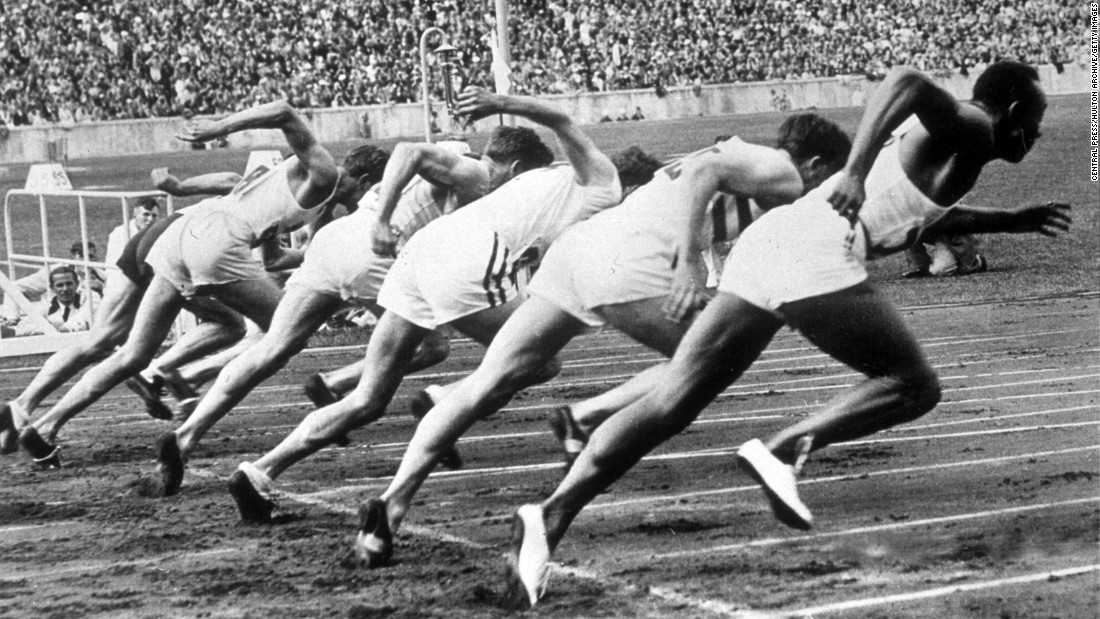 Owens, far right, begins a race at the Berlin Games. The 22-year-old won gold medals in the 100 meters, the 200 meters, the 4x100 relay and the long jump.